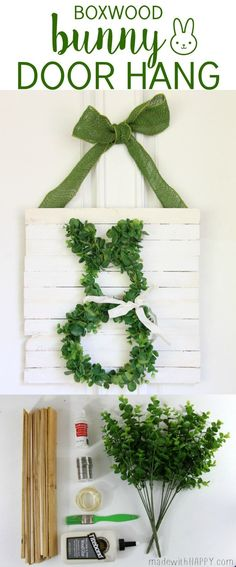 Boxwood Bunny Door Hang | Simple Easter Decor | Bunny Wreath | http://www.madewithHAPPY.com