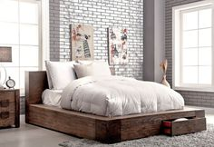 Bambi Modern Rustic Bed With Drawers