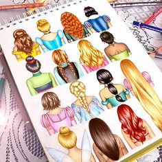 Disney hair drawn by the amazing Kristina Webb - Zeichnung Disney Pixar, Disney Amor, Walt Disney, Cute Disney, Disney Films, Disney And Dreamworks, Disney Magic, Disney Characters, All Disney Princesses