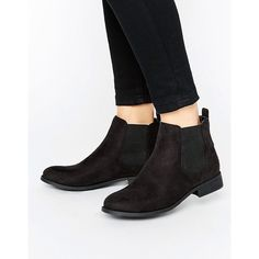 Park Lane Flat Chelsea Boots (320 SEK) ❤ liked on Polyvore featuring shoes, boots, ankle booties, black, black boots, flat booties, low heel booties, black ankle booties and black flat boots