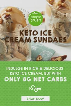 Finally, rich and delicious keto ice cream that's made with real cream! Plus, there's no added sugar, it's low in carbs, and it's super big on flavor. Enjoy it by the bowlful, or pile on the toppings and build your favorite sundae. Choose from Coffee Chip French, Butter Pecan, Black Raspberry Chip, Chocolate Cheesecake and Chocolate Chip French. Yum! Low Carb Sweets, Low Carb Desserts, Healthy Desserts, Healthy Eating Recipes, Keto Recipes, Keto Foods, Baker Shop, Best Burger Recipe, Keto Ice Cream
