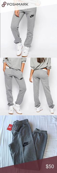 "Nike Grey Loose Sweatpants •The comfortable Nike Rally Loose Women's Pants have a plush interior and a comfortable, loose fit that gives you plenty of room to move.   •M: Inseam 31.5"", Waist laying flat 16"". Baggy/relaxed fit.   •New with tag.   •NO TRADES/PAYPAL/MERC/HOLDS/NONSENSE. Nike Pants Track Pants & Joggers"