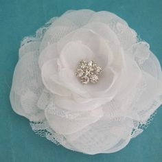 Bridal Hair Flower  White Lace Organza and Tulle by HARTfeltart, $32.00