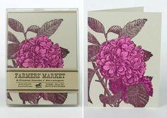 HYDRANGEA GREETING CARDS Farmers Market Letterpress Card Pack of 8. $17.00, via Etsy.