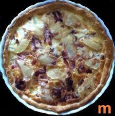 oeuf, crème fraîche, lardons, pomme de terre, reblochon, Sel, poivre, muscade, pâte, oignon