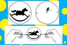 thaumatrope - kůň a jezdec Paper Toys, Paper Crafts, Animation Tools, Flip Books, Stop Motion, Optical Illusions, Cool Toys, Montessori, Art Projects
