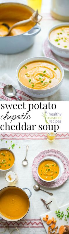 This Cheddar Chipotle Sweet Potato Soup Creamy gets a smoky kick from chipotle and sharp cheddar making it an awesome vegetarian fall meal!