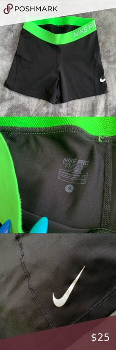 Black Nike pro shorts Black shorts with neon green waist band  Size small  In good condition Nike Shorts Athletic Shorts