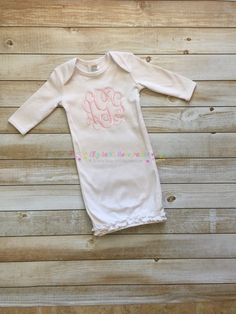 Monogrammed baby gown 0-3M by ElizabethsMonograms on Etsy