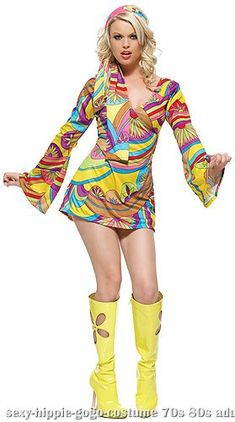 3a8e21a417 Sexy Hippie GoGo Girl Costume HeadbandBell Sleeved DressThe swingin   sixties are back this Halloween. The psychedelic print dress zips up the  back and has a ...