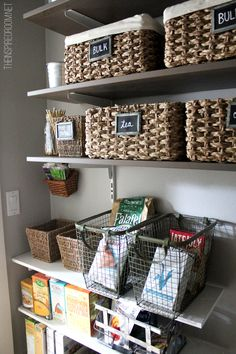 Come see our pantry makeover! We customized a very small pantry under the stairs with various types of IKEA shelving and plenty of baskets, bins and glass jars for organizing! We love it so much we took the door off so we could see it all day long! :-)