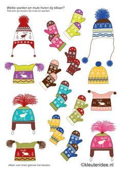 Welke wanten horen er bij de muts, kleuteridee.nl , thema winter, what mitts belong to the cap, for preschool , free printable.