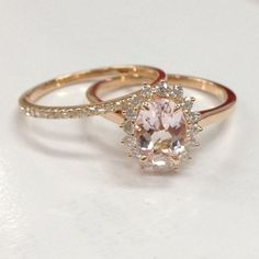 Diamond Engagement Ring Rose Oval Cut Pink Morganite Gemstone,Flower Floral Stacking Matching Band by RinginJewelry on Etsy Pink Diamond Engagement Ring, Dream Engagement Rings, Perfect Engagement Ring, Engagement Ring Settings, Vintage Engagement Rings, Bridal Rings, Wedding Rings, Wedding Jewelry, Rings