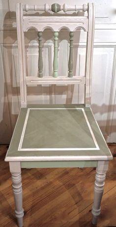 Stuhl Gründerzeit Gründerzeitstuhl Weiß Grün Landhaus Shabby Vintage Gedrechselt Küchenstuhl