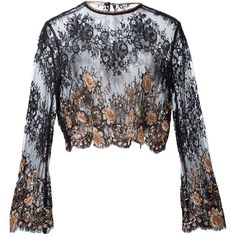 Alessandra Rich Embellished Lace Blouse ($1,016) ❤ liked on Polyvore featuring tops, blouses, blusa, kirna zabete, sale, long sleeve lace blouse, sequin top, lace blouse, black long sleeve blouse and crop top