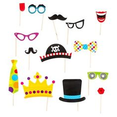 """Create a fun, memorable photo booth at your party or shower with this 14-Piece Photo Prop Set on Sticks! These fun props include glasses, mouths, hats, and ties. Let your guests get silly with these adorable, colorful cardboard props!    Dimensions:      Length: 1 3/4"""" - 11 2/3""""    Width: 2"""" – 11 7/10""""      Package contains 14 props."""