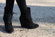 Wedge ankle booties.