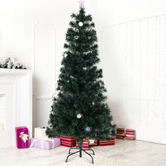 6 ft Fiber Optic Artificial Christmas Tree w/ Multicolor Lights & Stand.