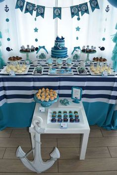 Blue and white whales baby shower party! See more party planning ideas at… Deco Baby Shower, Fiesta Baby Shower, Baby Shower Table, Boy Baby Shower Themes, Baby Shower Gender Reveal, Shower Party, Baby Shower Parties, Baby Boy Shower, Party Party