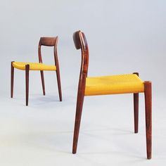 Two rosewood dining chairs by J.L.L. Moller. Sold via www.19west.de. #19west #vintage #chairs #danishdesign #rosewood #modernist