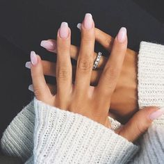 light pink nails.