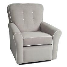 #FabricutLoveNate KACY Collection Morgan Nursery Swivel Glider - Crushed Silver Fabric with White Contrast Piping