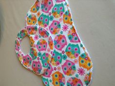 Owl baby bib and burp cloth set by DazzlingCinsations on Etsy, $12.00