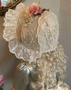 Ivory and lace couture ensemble for French Bebe 2019 The post Ivory and lace couture ensemble for French Bebe 2019 appeared first on Lace Diy. Baby Dress Patterns, Doll Clothes Patterns, Doll Patterns, Baby Bonnets, Antique Lace, Antique Jewelry, Linens And Lace, Christening Gowns, Heirloom Sewing