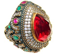 $67.00 Beautiful Red Ruby Sterling Silver Ring s. 9 at www.SilverRushStyle.com #ring #handmade #jewelry #silver #ruby