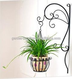 Hook Iron Flowers Plant Pot Wrought Rustic Wall Garden Bracket Baskets Decoratio for sale online Wall Plant Holder, Plant Wall, Plant Holders, Plant Hanger, Garden Plant Stand, Metal Plant Stand, Plant Stands, Flower Planters, Flower Pots