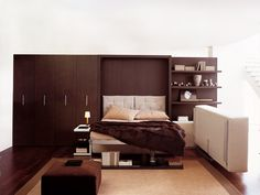 Storage wall with Pull-Down Double Bed ATOLL 202 Atoll Collection by CLEI | design Giulio Manzoni, Pierluigi Colombo