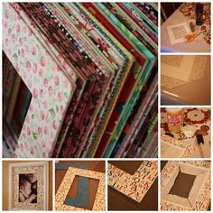 Accent your photos with fabric-covered cardboard mats, like this blogger.