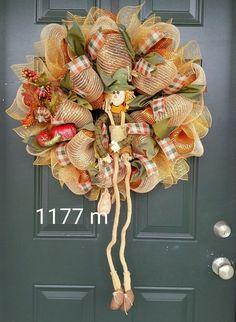 Autumn fall Deco Mesh  Wreath orange, brown, green scarecrow #1177