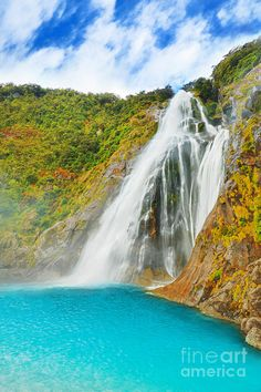 Photo about Beautiful waterfall in New Zealand. Image of rays, natural, pool - 23915474 Wonderful Places, Beautiful Places, Beautiful Sites, Amazing Places, Beautiful Pictures, The Places Youll Go, Places To See, Destinations, Beautiful Waterfalls