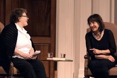 Nora Pouillon, right, and Nancy McKeon indulge in some author chit-chat. / Photo courtesy Sixth & I Historic Synagogue.