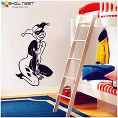 Harley Quinn Decal Wall Sticker Home Decor - Boys Room Wall Art Mural Vinyl Stencil Batman Joker Kid's Bedroom Wall Stickers DIY #Affiliate