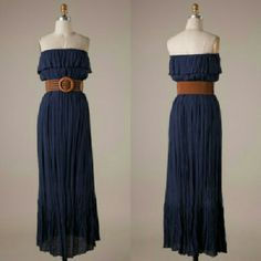 Navy Belted Maxi Dress Tube cut distressed maxi dress with belted waist.  65% Polyester 35% Rayon With lining Dresses Maxi
