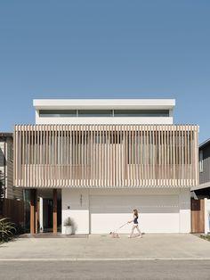Photo 2 of 14 in A Bungalow Is Transformed Into a Breezy Beach House in California - Dwell Facade Design, Exterior Design, House Design, Contemporary Beach House, Modern Beach Houses, House On Stilts, Interior Staircase, Facade House, House Floor
