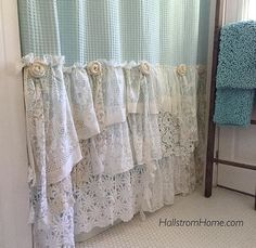 Shabby Cottage Chic Shower Curtain Grey Lace Ruffle Girls Bohemian Bathroom Gift for Her Shabby Chic Kitchen Curtains, Shabby Chic Shower Curtain, Ruffle Shower Curtains, Shabby Chic Bedrooms, Shabby Chic Furniture, Luxury Curtains, Yellow Curtains, Nursery Curtains, Country Curtains
