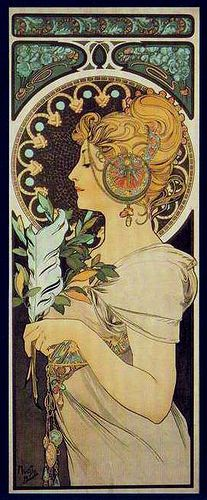 A poster by Alphonse Mucha. Very Art Nouveau poster. There is many swirls and decorative points in this poster. Typical swirls in her hair made from Mucha Mucha Art Nouveau, Alphonse Mucha Art, Art Nouveau Poster, Mucha Artist, Illustration Art Nouveau, Jugendstil Design, Illustrator, Kunst Poster, Inspiration Art