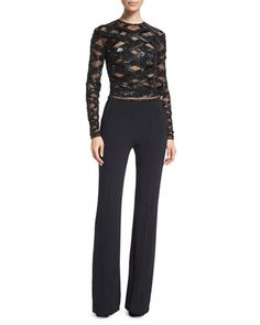 Long-Sleeve Embellished-Top Jumpsuit, Black by Zuhair Murad at Neiman Marcus.