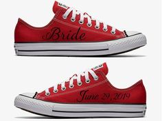 Custom Red and Black Bride Wedding Converse Hand Painted by SweetAndColorful on Etsy Black Red Wedding, Red And White Weddings, Black Bride, Red White Wedding Dress, Plaid Wedding, Wedding Converse, Wedding Shoes Bride, Bike Wedding, Bridal Shoes