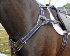 Amanda Ross Range Flexi-Fit Gel Padded English Leather 5 Point Breast Plate - Havana Brown & Stainless Steel  SKU: ABP002