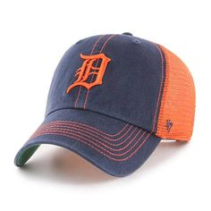 da9dcfc0d87 Detroit Tigers 47 Brand Trawler Navy Orange Clean Up Adjustable Hat