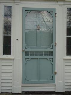 Benjamin Moore Stratton Blue Front Door  Beautiful screen door too!