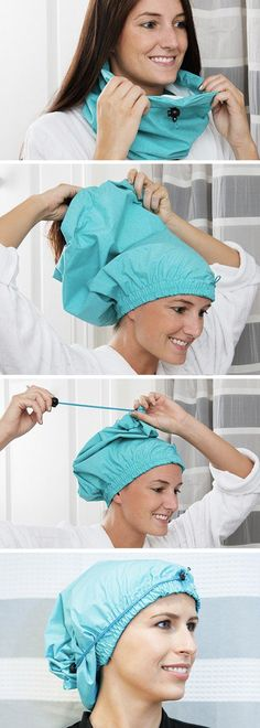 Virtuosa is an adjustable shower cap that's got three features its disposable predecessors don't. It's durable, breathable, and adjustable. The drawstring design lets your hair fall naturally, so it won't be crushed or dented. Breathable fabric helps keep your scalp cooler and your hair frizz-free during hot showers. And it's American made and machine-washable, too.
