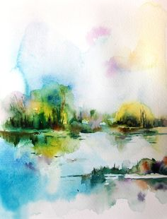 Watercolor Painting Art Print, Abstract Landscape, Nature, Green, Watercolour Art #bestofEtsy #etsyretwt
