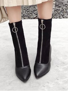 Black Synthetic Zip Solid 5CM Chunky Pointed Ankle Winter Fashion For  Chunky Heel Pointed Toe Zip 76350ef34a85