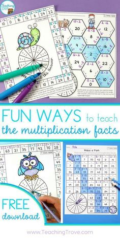 Teaching multiplication to your grade students should be fun. Use anchor charts and flip books to introduce each multiplication strategy and then hands-on games, activities and printables to help them remember their times tables. Maths 3e, Multiplication Activities, Math Activities, Numeracy, Math Fractions, Multiplication Chart Printable, Math Multiplication Worksheets, 4th Grade Multiplication, Division Activities
