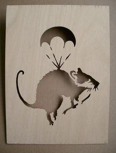Banksy Parachute Rat  Wooden Stencil